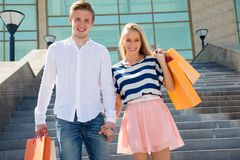 Happy couple on shopping royalty free stock photos