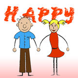 Happy Couple Shows Joy Romantic And Smiling Royalty Free Stock Photography