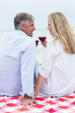 Happy couple sitting on a blanket and toasting with red wine Stock Photos