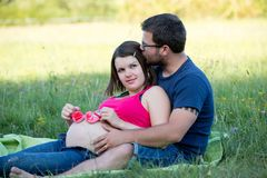 Happy couple sitting in grass Royalty Free Stock Image