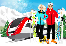 Happy couple skiers in mountain resort Royalty Free Stock Photography