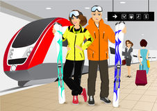 Happy couple skiers standing at the train station. Vector illustration of happy couple skiers standing on the platform at the train station Stock Image