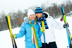 Happy Couple Skiing Royalty Free Stock Photo