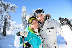 Happy couple on skiing holidays Stock Photography