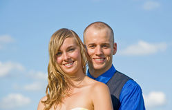 Happy Couple in the Sky Stock Photography