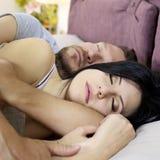 Happy couple sleeping hugged Royalty Free Stock Photos