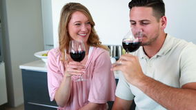 Happy couple smiling at the camera toasting with red wine. At home in the kitchen stock video footage
