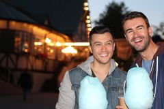 Happy couple smiling during date at theme park.  Royalty Free Stock Photography