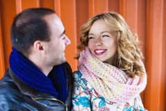 Happy couple smiling at each other Royalty Free Stock Photography