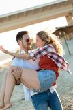 Happy couple smiling and having fun time royalty free stock photo