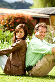Happy couple smiling outdoors Royalty Free Stock Photo