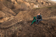 Happy couple smiling outdoors in the mountains Stock Photos