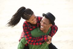 Happy couple smiling together outdoors royalty free stock photos