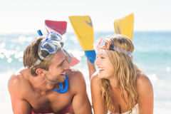 Happy couple with snorkel and flippers Royalty Free Stock Photos