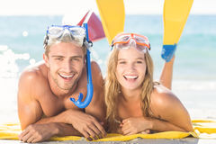 Happy couple with snorkel and flippers Stock Photo