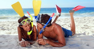 Happy couple with snorkeling equipment talking stock video