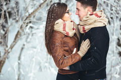Happy couple in snow park Royalty Free Stock Images