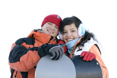 Happy couple. Snowboarders in love. royalty free stock images