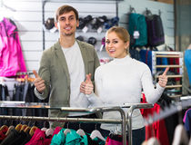 Happy couple in the sport shop Royalty Free Stock Photography