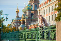Happy couple in St.Petersburg, Russia Stock Photos