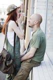 Happy couple at street Stock Photos