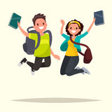 Happy couple of students jumping for joy. Vector illustration in Royalty Free Stock Image