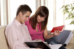 Happy couple study together Stock Photos