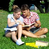 Happy couple studying in park Royalty Free Stock Photos