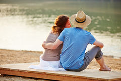 Happy couple in summer at beach Royalty Free Stock Image