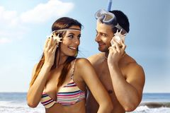Happy couple on summer holiday Stock Photography