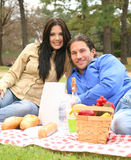 Happy Couple On Summer Picnic. Two young people in park doing summer picnic stock photos