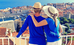 Happy couple on summer vacation in Croatia Stock Images