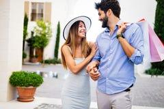 Couple on summer vacation enjoying travel and shopping stock photo