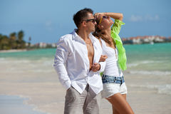 Happy couple on summer vacation Stock Photography