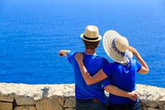 Happy couple on summer vacation at the sea Stock Image