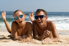 Happy Couple in Sunglasses Stock Image