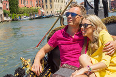Happy couple with sunglasses Stock Images