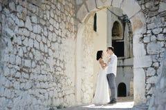 Happy couple in a sunny day in Sperlonga, Italy. Happy caucasian couple in a sunny day in Sperlonga, Italy Stock Photo
