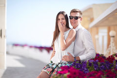 Happy couple on a sunny shore background. Romantic and luxurious relationship. Romance, relationship and dating. Cop royalty free stock photo