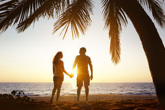 Happy couple sunset beach under palm Royalty Free Stock Images