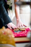 Happy couple swearing love to each other during wedding ceremony Royalty Free Stock Photo