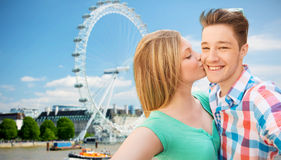 Happy couple taking selfie over london Stock Photo