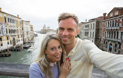 Happy couple taking selfie photo royalty free stock photo