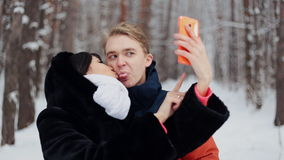 Happy couple taking selfie stock video footage