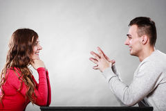 Happy couple talking on date. Conversation. Royalty Free Stock Photos