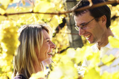 Happy couple tasting wine Royalty Free Stock Photography