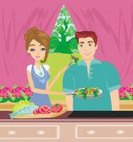 Happy couple tests food in the kitchen. Illustration Royalty Free Stock Photo