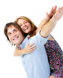 Happy couple with their arms stretched out Stock Photography