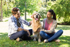 Happy couple with their dog in the park Royalty Free Stock Images