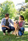 Happy couple with their dog in the park. On a sunny day Stock Image